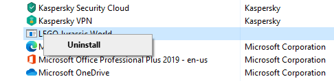 Uninstall Program Windows