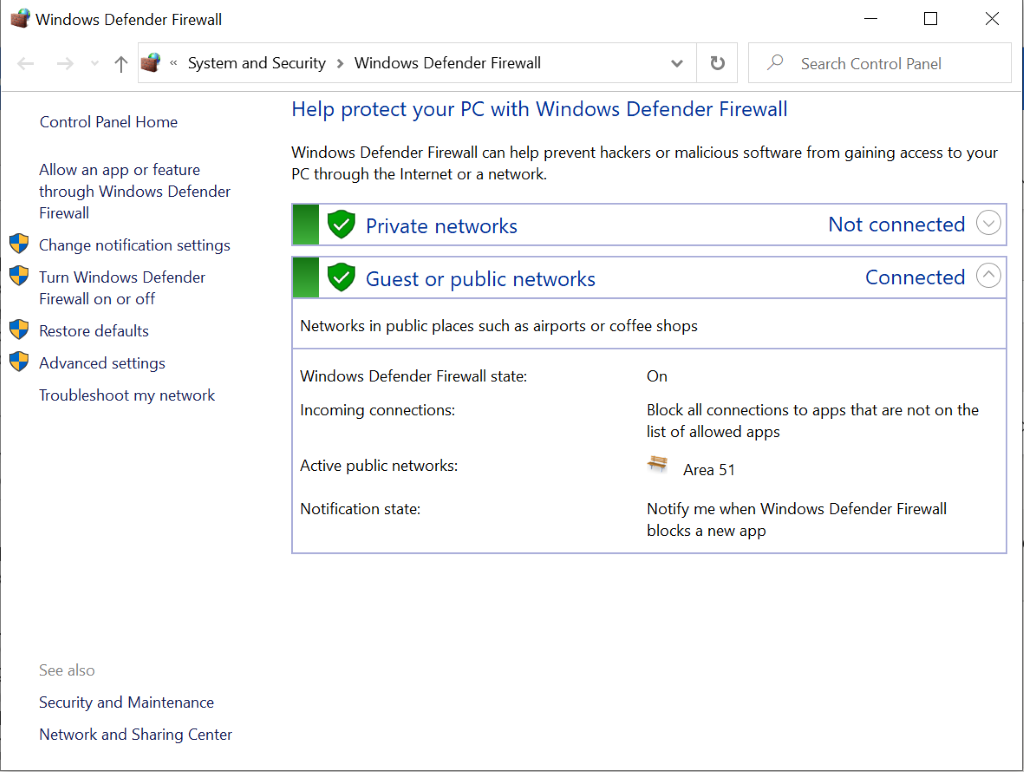 Windows Defender Firewall settings