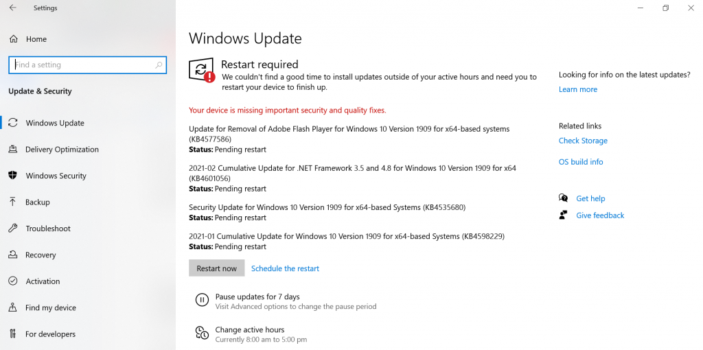 Windows Update - Restart Required