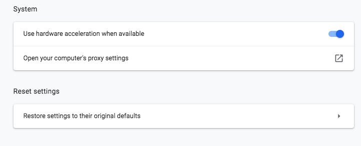 Google Chrome System settings