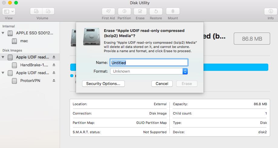 Mac Disk Utility erase process