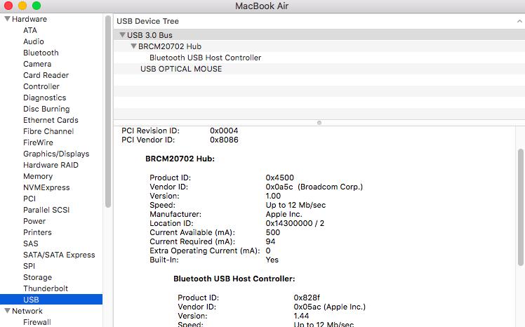 MacBook Air USB Device Tree