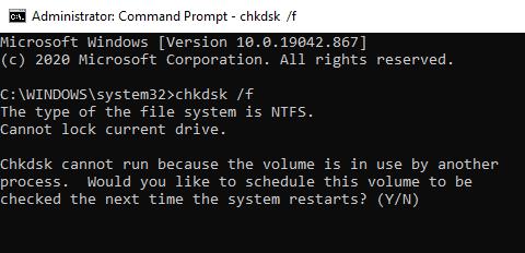 Run CHKDSK tool