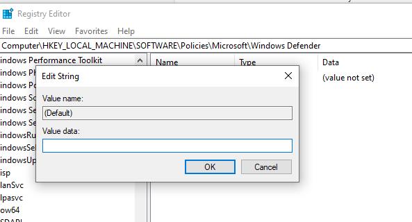 Windows Defender Keys