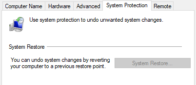 System Restore System Protection