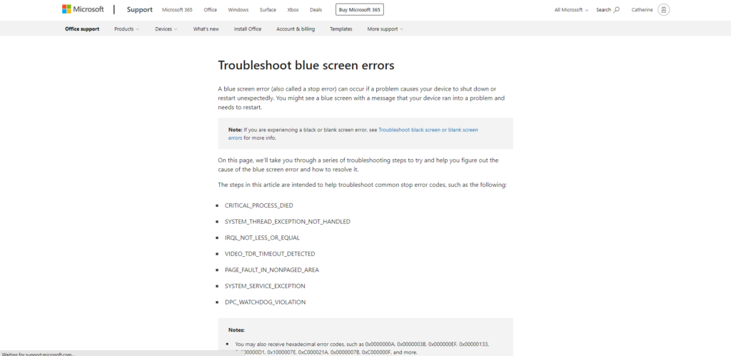 Troubleshoot Blue Screen Errors