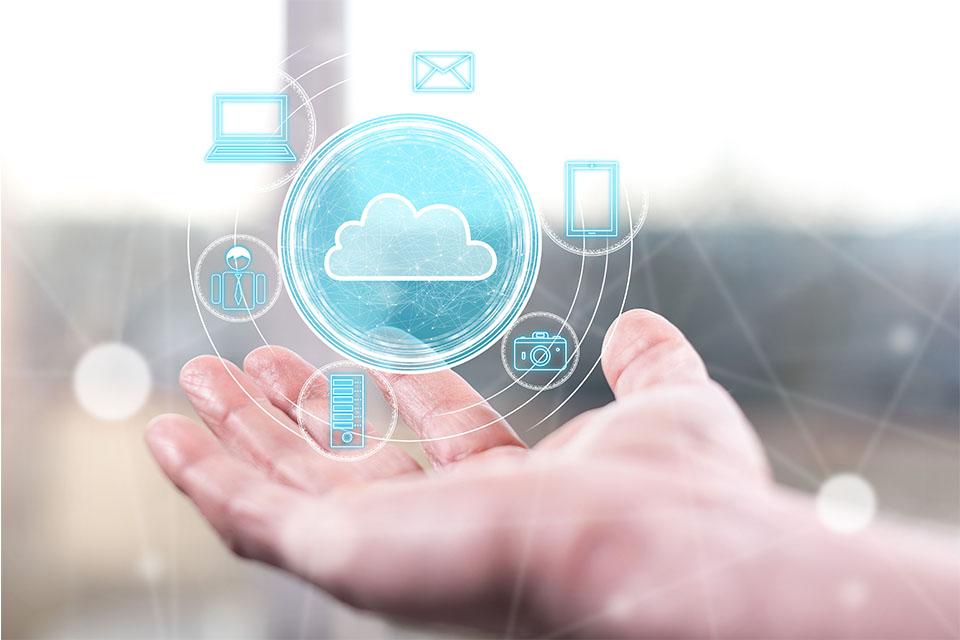 Cloud Technology Concept Above Hand