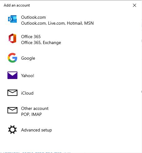 Windows 10 Mail - Add Account