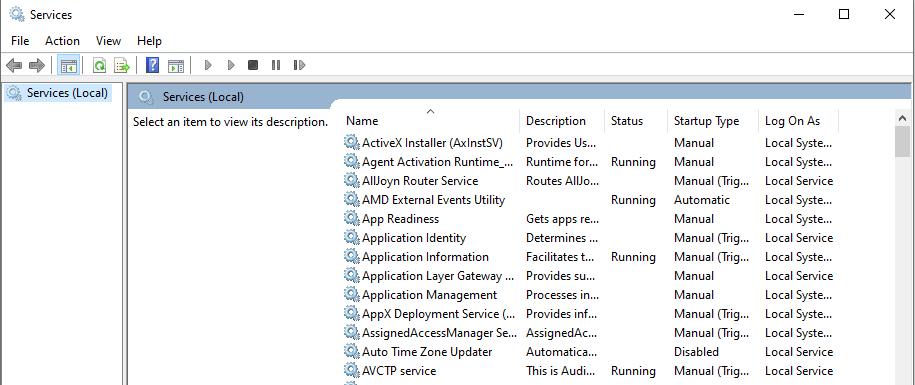 Windows Services Screen