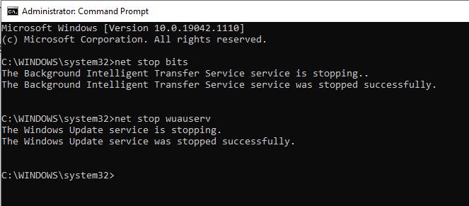 Command Prompt - Net Stop Bits