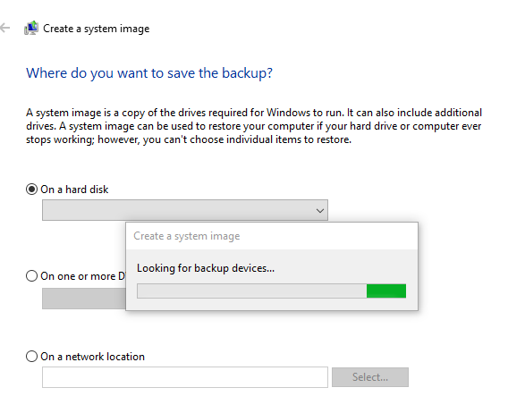 Create backup with system image tool