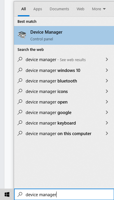 Device Manager - Cortana Search