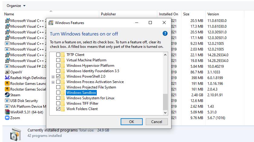 Disable Windows Sandbox