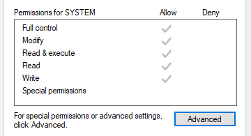 Permissions for SYSTEM