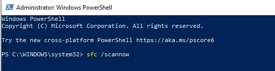 Windows Powershell sfc scannow