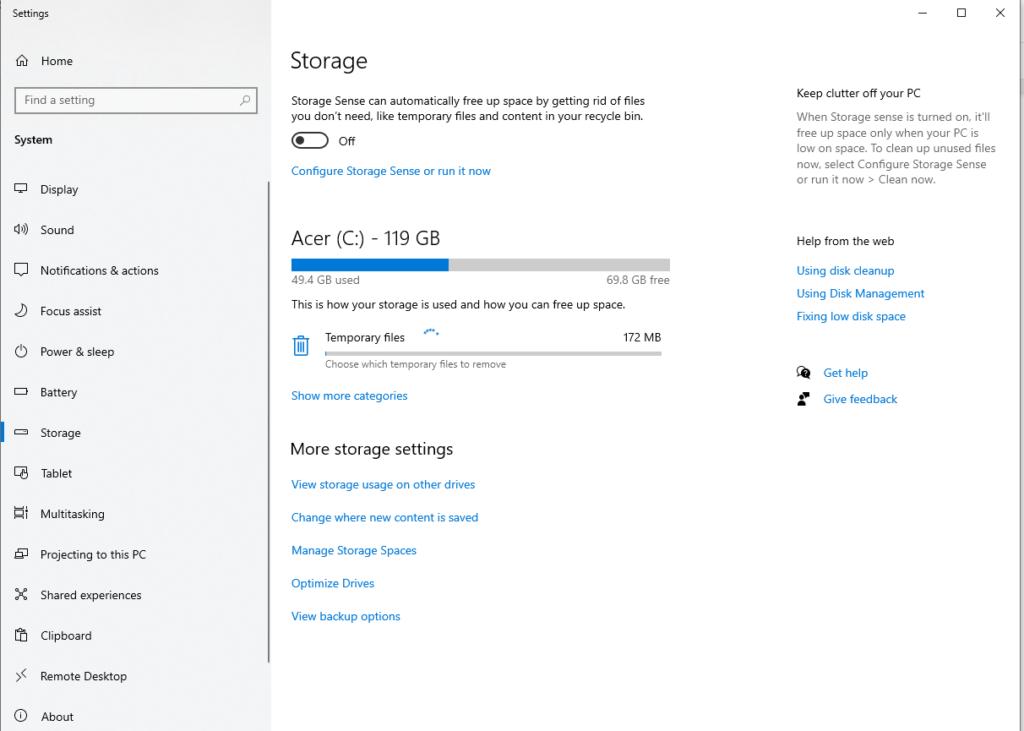 Windows Storage - Settings