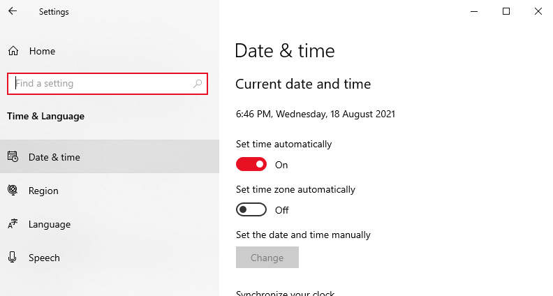Configure the Time, Date, and Region Settings