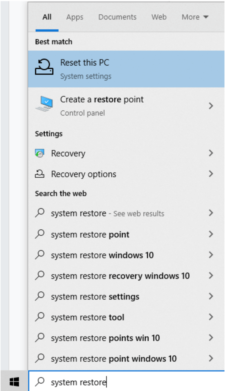 Use the System Restore utility