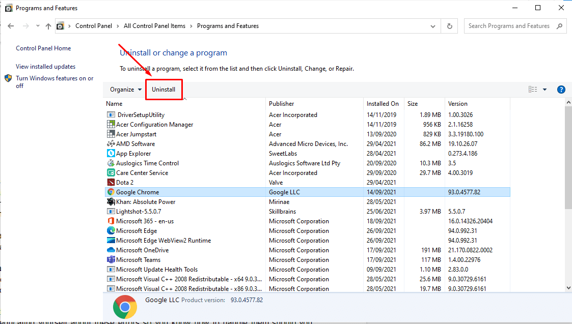Hit the Uninstall button to continue removing the program