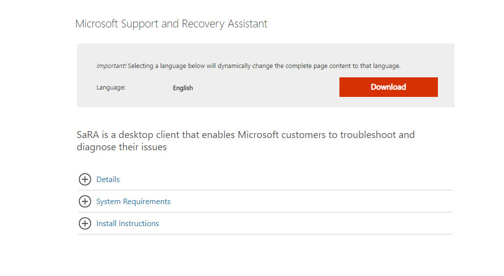 Use the Microsoft Support and Recovery Assistant