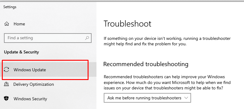 Use the Windows Update troubleshooter first